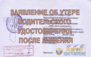 Заявление об утере водительского удостоверения